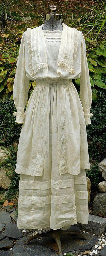 Antique Edwardian Sheer Floral Lawn Tea Wedding Dress Gown | eBay