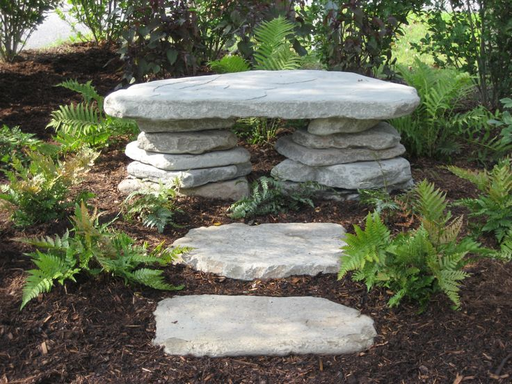 Outdoor bench of stacked stone