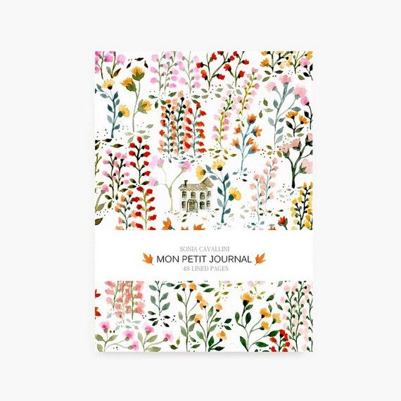 Notebook journal diary flowers pattern floral A6 by SoniaCavallini