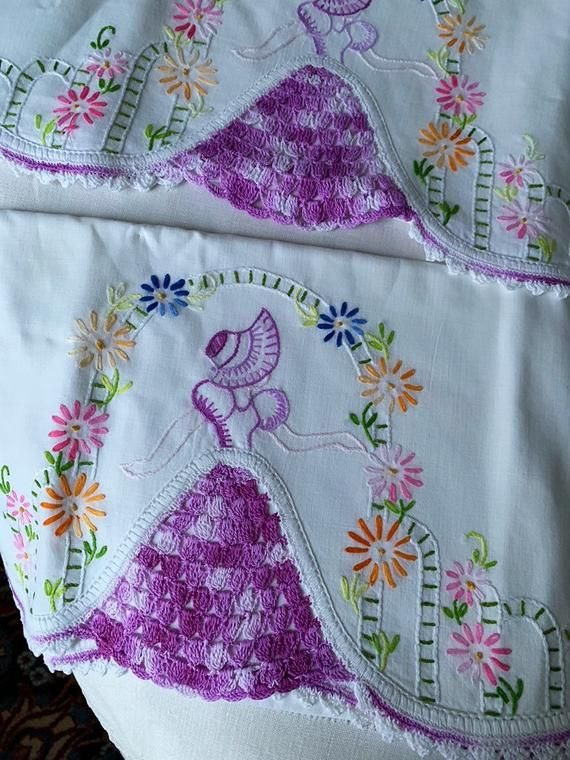 Vintage pillowcase with embroidery belles beautiful embroidery purple skirt
