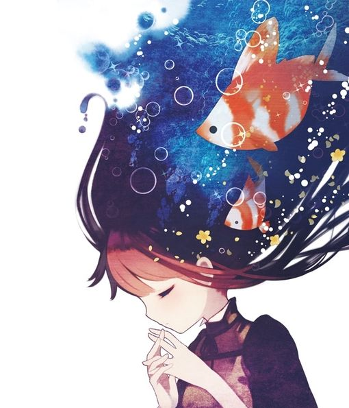 Bubble Burst - anime girl with the sea in her hair