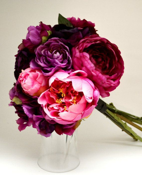 Peony & Hydrangea Bouquet – Bridal Bouquet, Dark Pink, Fuchsia, Pink, Purple, Peony Bouquet, Ruffle, Shabby Chic, Vintage Bouquet  – wedding flowers
