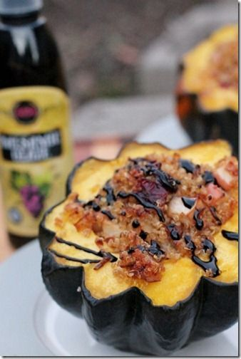 """Quinoa & Apple Stuffed Acorn Squash with Balsamic Glaze.  I loved this...husby thought it was a """"make once a year"""" recipe."""