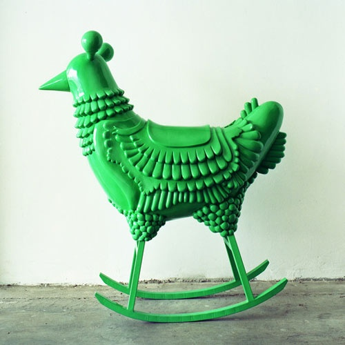 green chicken rocking chair