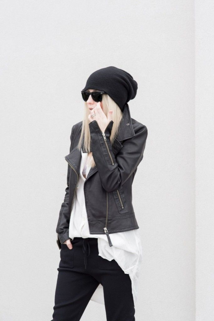 Mackage Kenya Leather Jacket (similar Mackage jacket here) | ARITZIA WILFRED FREE VERONIKA SHIRT-DRESS OAK (worn as top) | Cosabella Dolce Bralette White | Zara Knit Trousers Black (similar here) | Catbird Slouchy Cashmere Hat