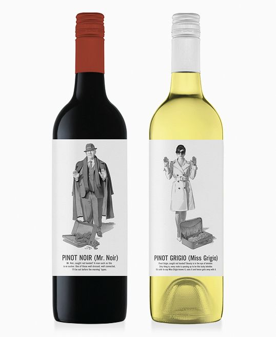 His-and-her labels--Mr. Noir and Miss Grigio--for this pinot noir and pinot grigio.  #wine  #labels