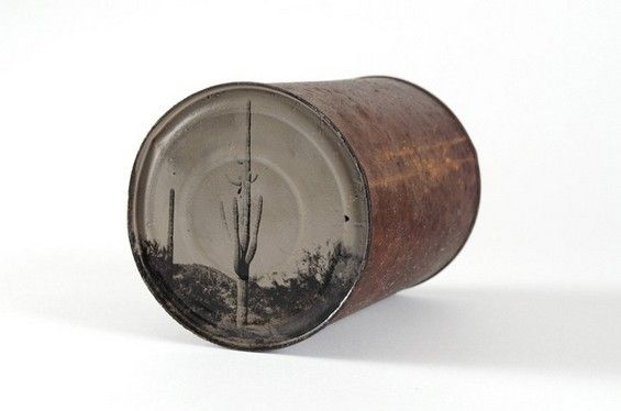 19th Century Technique Used To Develop Images Of The Desert On Tin Cans