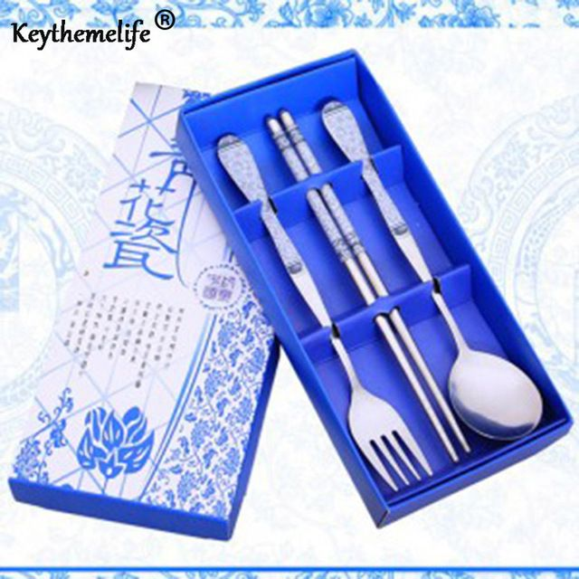 Fair price Keythemelife Dinnerware Set Cutlery Stainless Steel 3 in1 Travel 5 Color Chinese gift for world blue-white Tableware just only $3.18 with free shipping worldwide  #dinnerware Plese click on picture to see our special price for you
