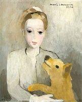 Marie Laurencin, Portrait de Jeune fille au chien, 1945