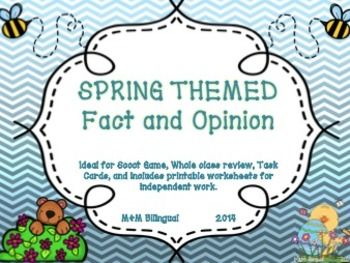 Looking for a fun way to review fact and opinion before the state assessment? Looking for a fun center and spring activity? Then this is the unit for you!  This unit is ideal for Scoot Game, whole class review, task cards, and independent work.  Includes anchor charts, task cards, printables, and writing pages. Ideal for any classroom :)