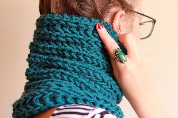 The one with the single ocean blue cowl by winkitywink on Etsy