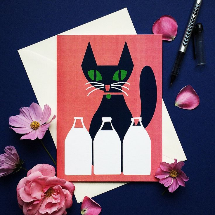 Cat greeting card, Scandinavian style, Modern style, Blank card, Card for him, Card for her, Greetings card, Birthday card by dandiifluff on Etsy https://www.etsy.com/listing/245812427/cat-greeting-card-scandinavian-style