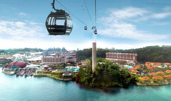 Hop on a cable car to Sentosa Island! Pretty cool views!!