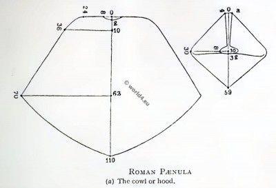 The Roman Paenula Pattern. The cowl or hood. Ancient roman travelling cloak.