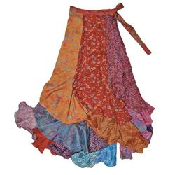 Silk Blend Long Patchwork Sari Wrap Skirt (India)