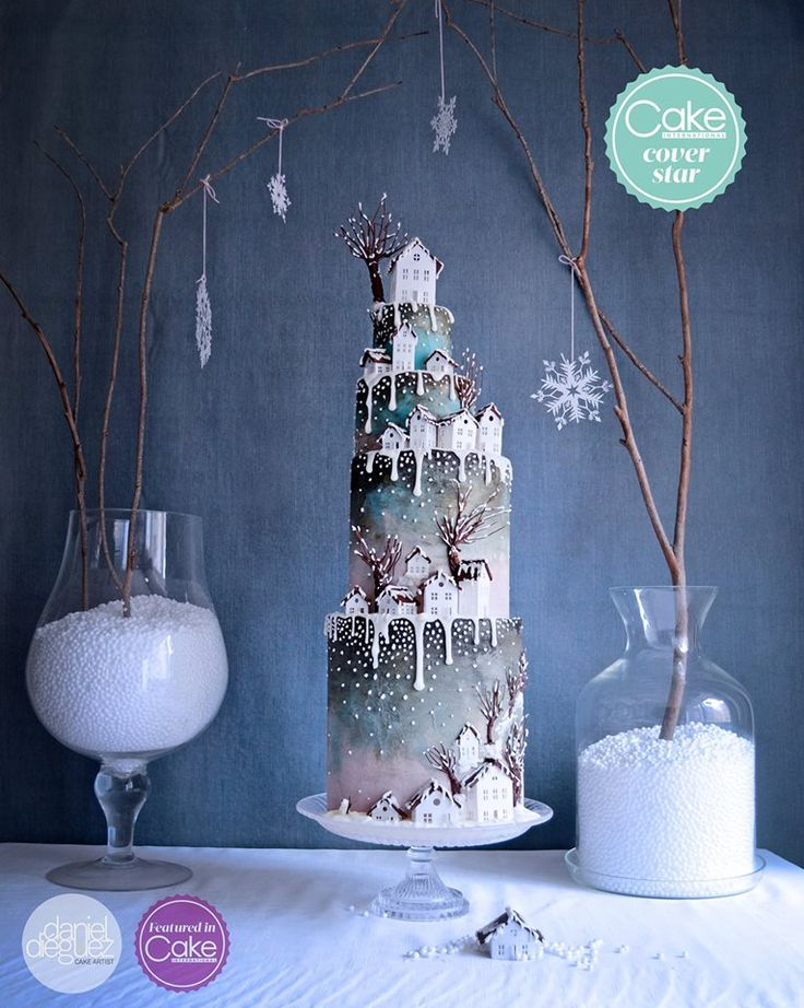 """Welcome Home"" Winter Wedding Cake"