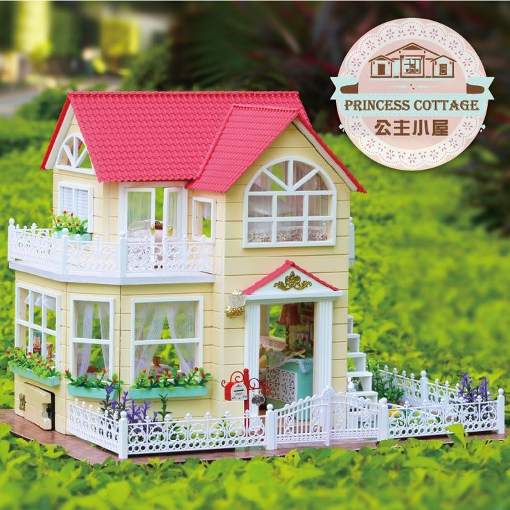 46.99$  Watch more here - http://airtv.worlditems.win/all/product.php?id=32781192135 - DIY Wooden Dollhouse Kit Model--Princess cottage Model & Furiniture LED Light with Music box