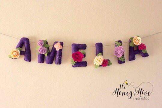 Flower name banner, girl, floral name decor, flower baby shower banner, flower nursery decor, felt name, felt name banner, nursery decor by TheHoneyHiveWorkshop on Etsy https://www.etsy.com/ca/listing/521910030/flower-name-banner-girl-floral-name