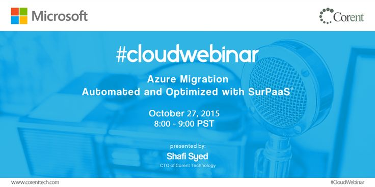 "Register for #Cloud #Web #Conference : ""#Azure #Migration - Automated & Optimized with SurPaaS"". #Graphic #Design #Twitter #post"