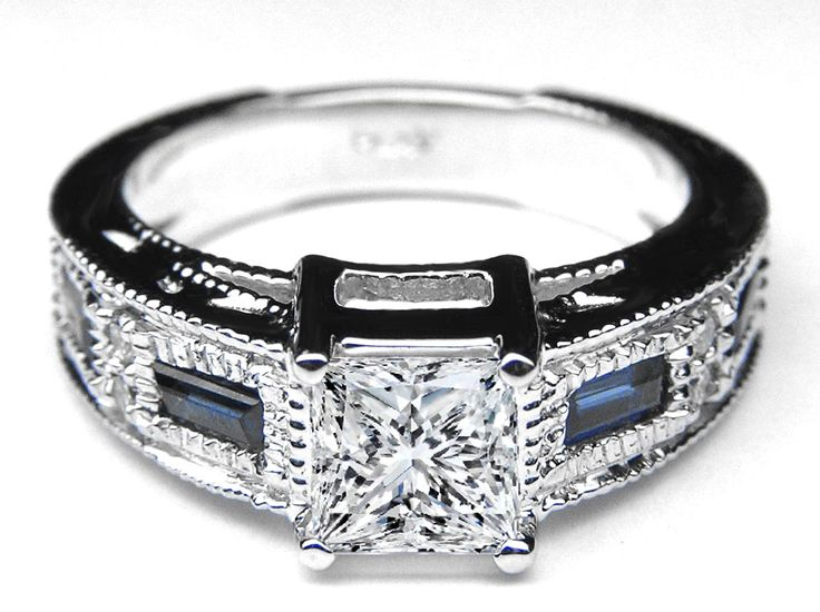 Princess Diamond Engagement Ring Setting With Sapphires In 14K White Gold 0.52 tcw.