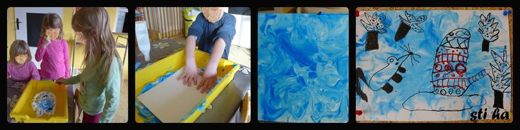 O rukavičce - pozadí ( pěna na holení + tuš), kresby tuší