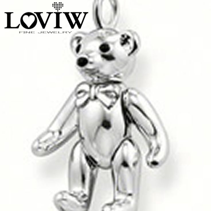 2017 European Style Moveable Teddy Bear Pendant, Silver Club Charm for Necklace,Friend Child lover Gift Wholesale Hot Sale