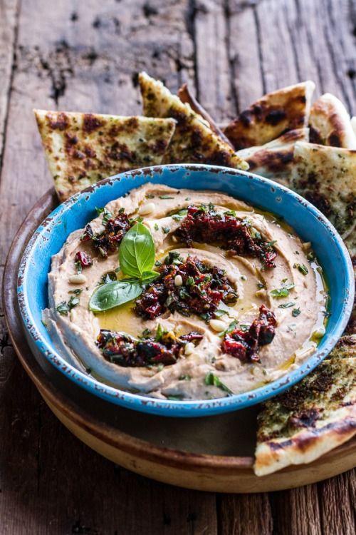 yumyum01:  (via Cheesy Margarita Pizza Hummus with Grilled Pesto Pizza Bread. - Half Baked Harvest)