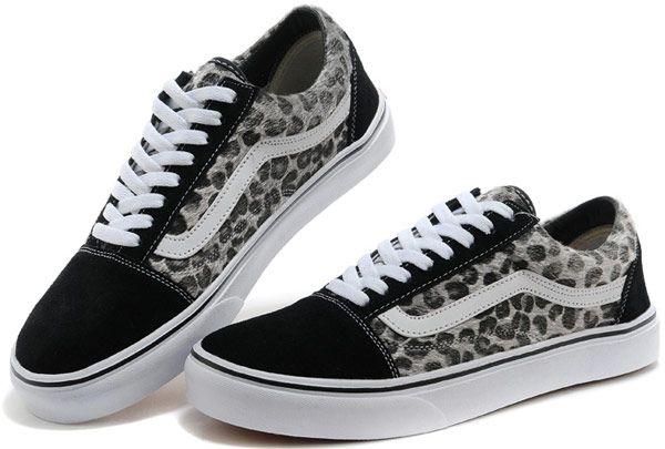34412f40ce2 Classic Vans Leopard Print Old Skool Skateboard Shoes Suede Grey   S14052901  -  39.99   Vans Shop