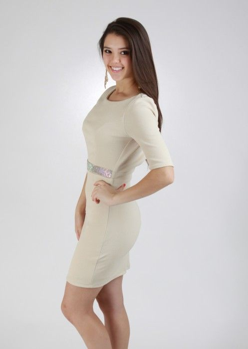Sleeved Dress With Beaded Band #beige #sleeved #dress  #holiday #kieus