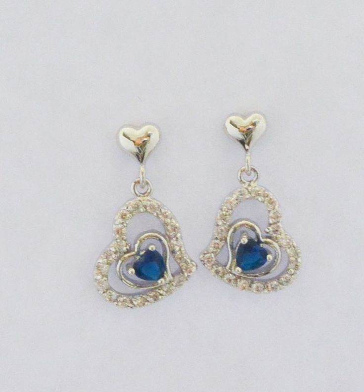 Blue heart dangle cz earrings