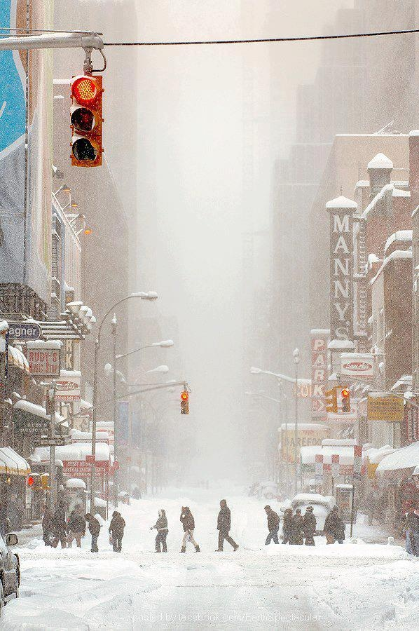 New York during the snow storm