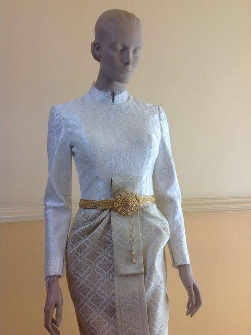 เสื้อลูกไม้แขนยาว สีออฟไวท์ ชุดไทยมีแขน เจ้าสาว thai dress