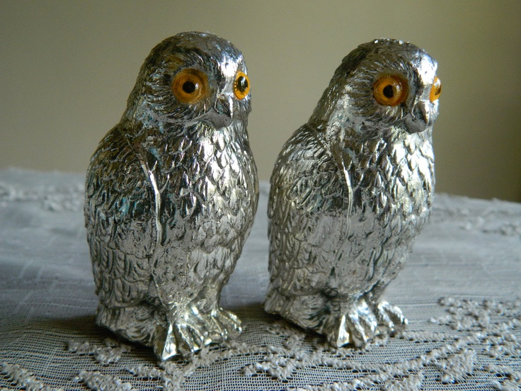 Vintage Silver Owl Salt And Pepper Shakers