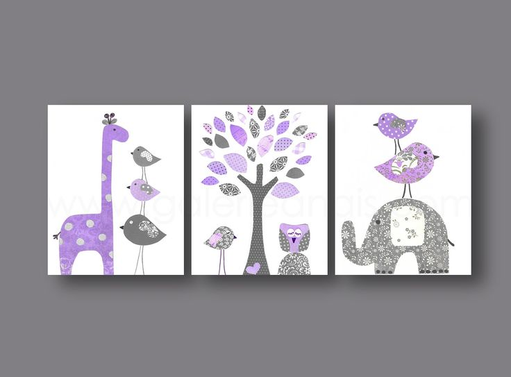 Baby nursery art, nursery wall art, nursery print, kids art, giraffe, elephant, tree, Birds, owl, purple, gray, Set of three 8x10 prints. $42.00, via Etsy.