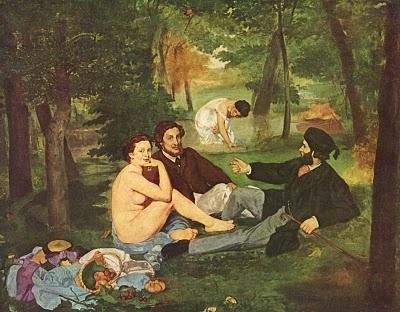 L'art Moderne Tout commença en 1863 lorsque fut exposé au salon des refusés Le Déjeuner sur l'herbe d' Edouard Manet ( musée du Jeu-de-Paume, PARIS).  Cette toile souleva un énorme scandale.  Elle peut aujourd'hui nous paraître bien sage, mais que l'on songe à l'effet qu'elle devait immanquablement produire sur le public du temps, habitué aux peintures appliquées, anecdotiques des maîtres de l'académisme.  On accusa Manet d'indécence,, le mot fut prononcé par Napoléon III lui même