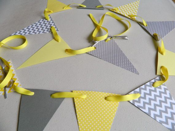 Paper Garland/ Yellow and Gray Chevron Stripes/ Polka dot and Chevron / Baby Shower Decor/ Birthday Decor/ Photo Prop on Etsy, $9.75