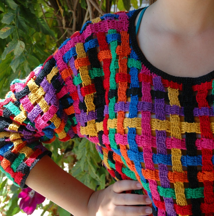 Inspiration. multicolor basket weave. Could be neat for yarn skirt.