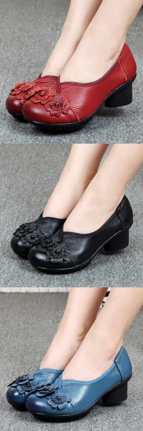 US$25.76 Socofy Leather Mid Heel Vintage Handmade Pumps_ Flower Original Soft Shoes_Leather Floral Pumps_Women Flower Shoes