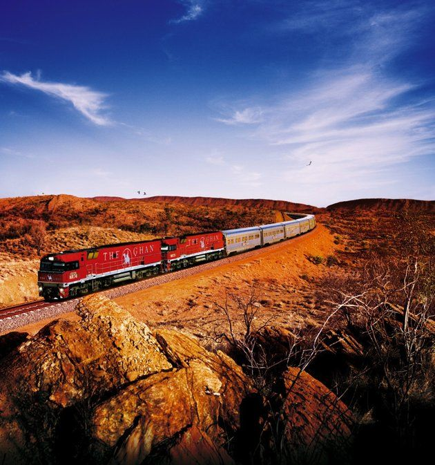 """""""The Ghan, Australia's Great Southern Rail  Stretching 1,846 miles from Adelaide in South Australia to Darwin, the Ghan brings train travelers straight through the """"red center"""" of the Australian outback. Among the landscapes plumbed on the three-day, two-night jaunt are vast desert plains, the sere red-rock Flinders Ranges and the dazzling waterfalls and river gorges of Nitmiluk National Park.   (Photo: Great Southern Rail)"""""""