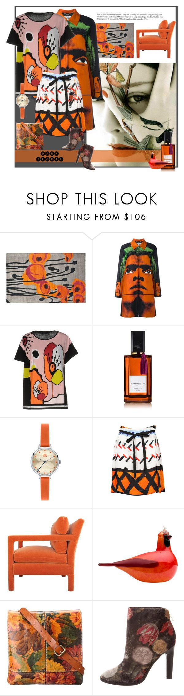 """""""Come on baby pick my flowers"""" by traceygraves ❤ liked on Polyvore featuring Safavieh, Moschino, Pianurastudio, Diana Vreeland, Orla Kiely, Vivienne Westwood Anglomania, iittala, Patricia Nash and Joie"""