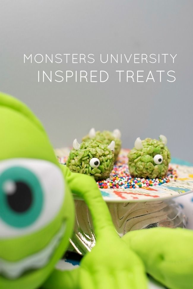 Monsters University Party Food Ideas www.spaceshipsandlaserbeams.com I like the monster Rice Krispy treats...