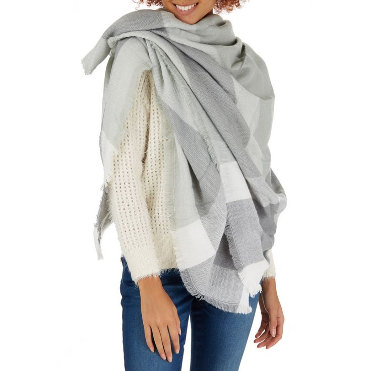 Oversized Border Check Scarf Pale Grey