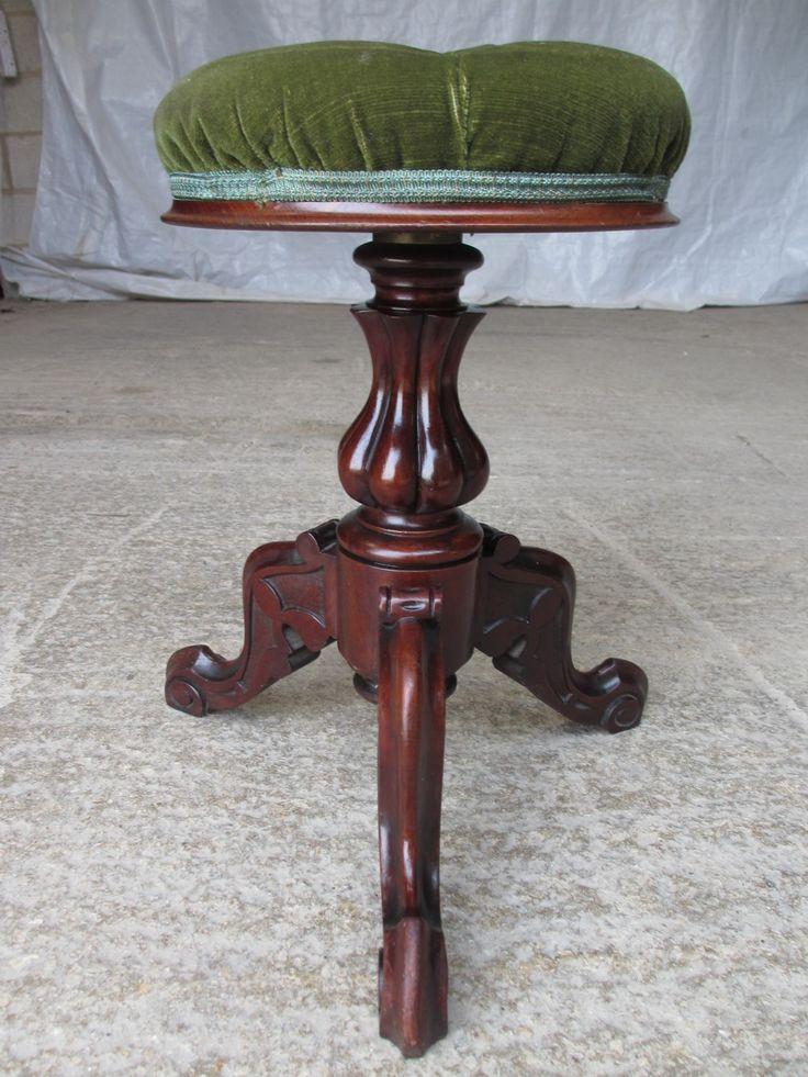 Victorian Mahogany Button Upholstered Adjustable Circular