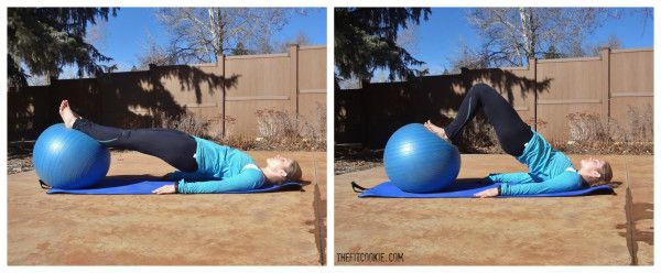 Ball hamstring curl: 30-Minute Abs and Glutes Workout - TheFitCookie.com #workout #fitness
