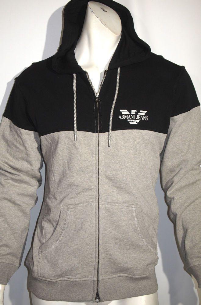 Armani jeans colorblock fleece zip hoodie sweater jacket size small NEW on SALE #ArmaniJeans #Hoodie