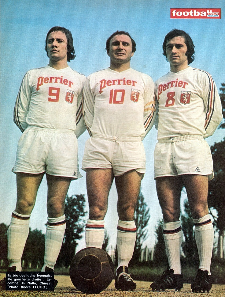 Olympique Lyonnais football kit from the seventies. Interesting football too.