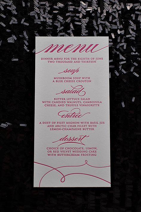 hot pink, gold, summer wedding trends, 2013 wedding trends, letterpress  wedding invitations, menu card | Trendy Wedding Invitations by Just Invite  Me ...