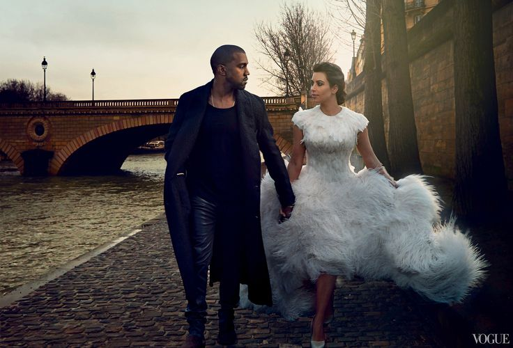 Kim Kardashian and Kanye West: Keeping Up with Kimye. Photographed by Annie Leibovitz, Vogue, April 2014. Kardashian in Alexander McQueen.