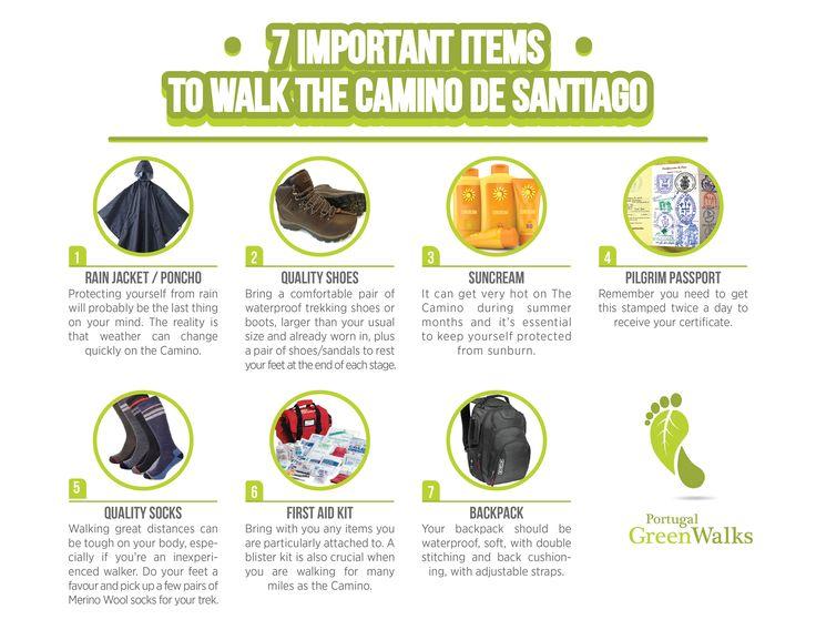 7 important items to walk the Camino de Santiago #caminodesantiago #waytosantiago #portuguesecaminodesantiago #saintjamesway