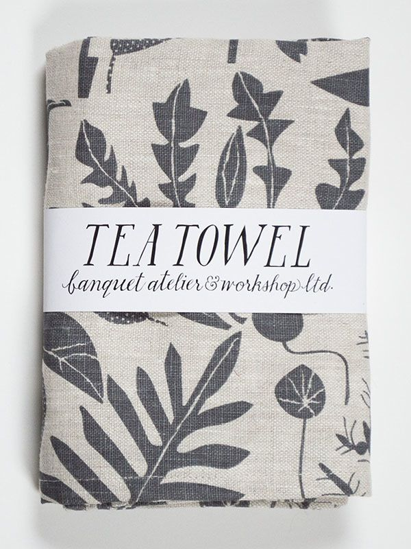 Banquet Workshop Charcoal Plants Linen Tea Towel screen printed in Canada with our original design featuring orchid cacti, philodendrons, pilea and more.